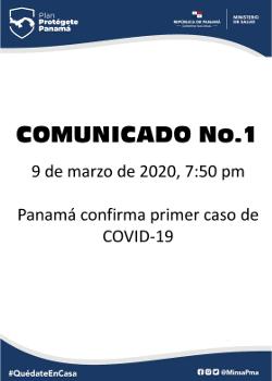 COMUNICADO 01: Panamá confirma primer caso