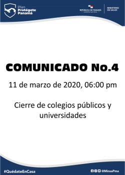 COMUNICADO 04: cierre de colegios y universidades