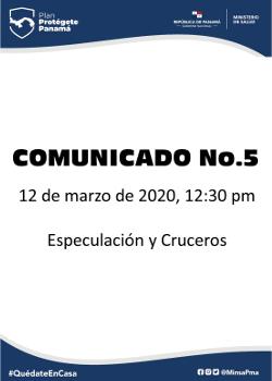 COMUNICADO 05: especulación y cruceros