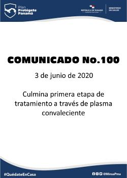 COMUNICADO 100: Culmina primera etapa de tratamiento a través de plasma convaleciente