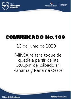 COMUNICADO 109: MINSA reitera toque de queda a partir de las 5pm del sábado en Panamá y Panamá oeste