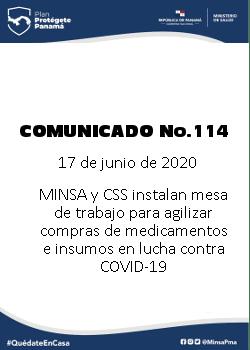 COMUNICADO 114: MINSA Y CSS instalan mesa de trabajo para agilizar compras de medicamentos e insumos en lucha contra COVID-19