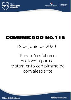 COMUNICADO 115: Panamá establece protocolo para el tratamiento con plasma de convaleciente