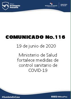 COMUNICADO 116: Ministerio de Salud fortalece medidas de control sanitario de COVID-19