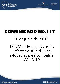COMUNICADO 117: MINSA PIDE A LA POBLACIÓN REFORZAR ESTILOS DE VIDA SALUDABLE PARA COMBATIR EL covid-19