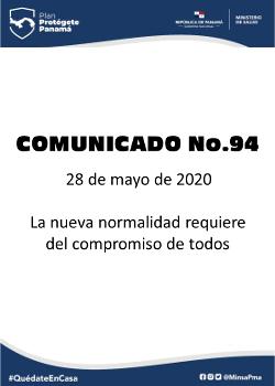 COMUNICADO 94: La nueva normalidad requiere compromisos de todos