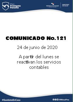 COMUNICADO 121: A partir del lunes se reactivan los servicios contables