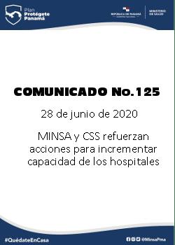 COMUNICADO 125: MINSA Y CSS refuerzan acciones para incrementar capacidad de los hospitales