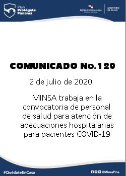 COMUNICADO 129: MINSA trabaja en la convocatoria de personal de salud para la atención de adecuaciones hospitalarias para pacientes COVID-19